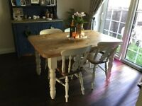 Wooden farmhouse dining room table & chairs - shabby chic