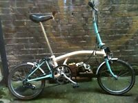 White and turquoise Brompton M3L folding bicycle 3 speed WORLDWIDE SHIPPING