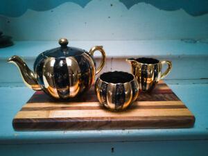 Vintage Gibson Black & Gold Pumpkin Teapot with Cream & Sugar