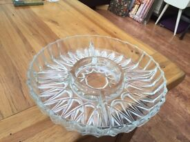 Glass bowl with 5 separate areas