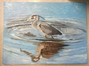 "oil on stretched canvas ""heron in Sydney harbour"""