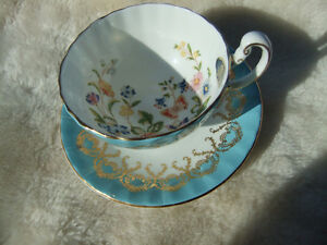 NEW Aynsley Cottage Garden Turquoise Tea Cup & Saucer Bone China