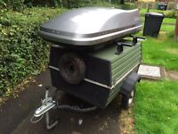 Camping trailer plus roof box
