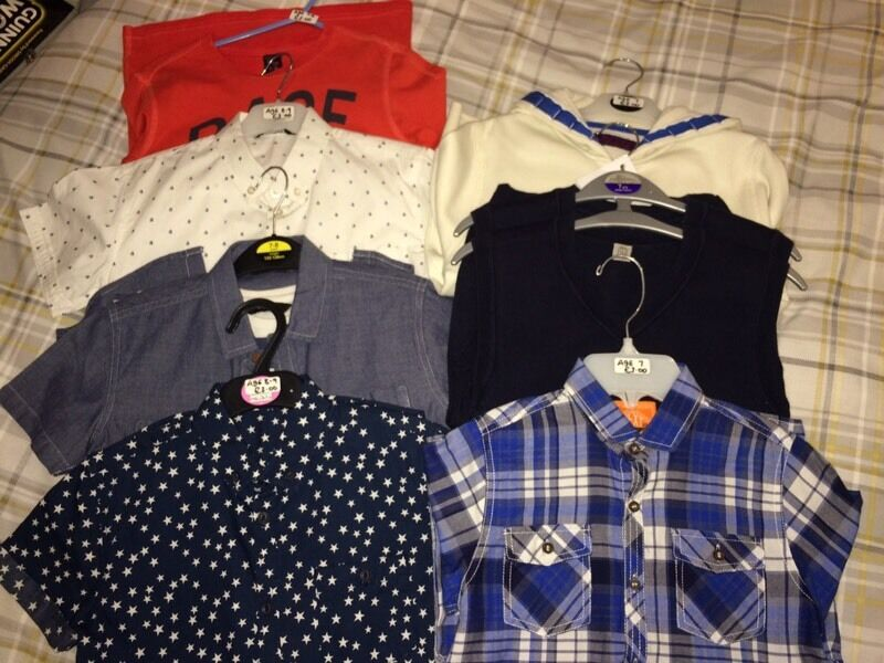 Boys Clothes BundleAge 7 8in Southside, GlasgowGumtree - 1 x Next LS Shirt (BNWOT)1 x River Island Stars Shirt1 x White Shirt (BNWOT)1 x Denim Shirt with Tshirt underneath1 x Next Hoodie2 x Tanktops1 x Designer LS topAged 7 8All for only £20(A couple of the shirts are 8 9 but fitted my son sooner as small...