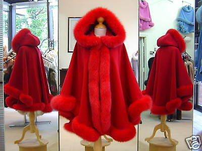 Red Cashmere Hooded Cape With Fox Fur Trim Beautifully Canadian Label Red Hooded Capes