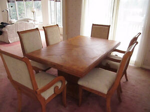 Solid wood table, six chairs and a hutch