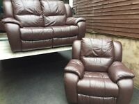 Reids luxury full leather 2 & 1 reclining sofa set - can deliver