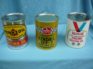 Vintage RACING oil cans, full