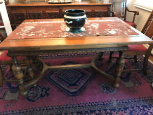 Antique Jacobean style solid oak dining room table and chairs