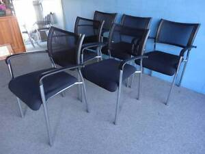 6 DINING CHAIRS MEETING RECEPTION OUTDOOR DECK BLACK PLASTIC MESH Geebung Brisbane North East Preview