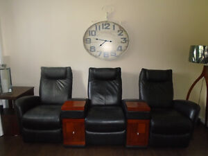 GORGEOUS BLACK REAL LEATHER RECLINING HOME THEATER  SEATING