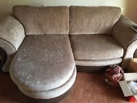Beige and brown sofa