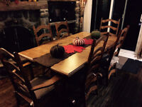 Solid Oak Dining Room Table with Free Chairs