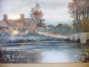 """Original Watercolor """"Village In The Country"""", Carrie Walker 1935 Stratford Kitchener Area image 9"""