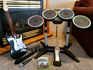 Rock Band 2 with guitar, drums and microphone for Xbox 360