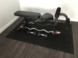 Exercise bench with mat and weights