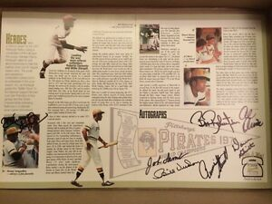 PIRATES PROGRAM INSERT SIGNED BY 7 PLAYERS OF 71 WORLD CHAMPS +