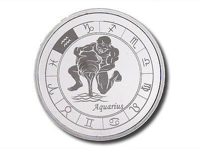 Zodiac Horoscope   Aquarius   1 Oz  999 Silver Bu Round Usa Made Bullion Coin