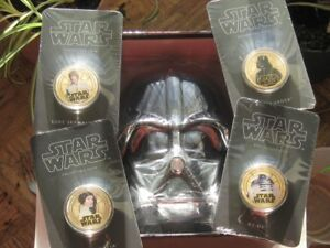 Star Wars 4 gold Plated Coin Set in Daft Vader
