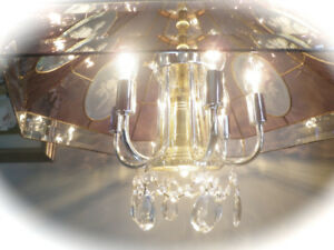 PRETTY ROSE PINK BEVELLED GLASS CHANDELIER with CRYSTALS