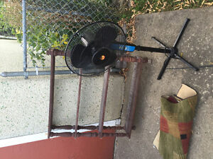 free free wood bookcase shelving, fan,and patio glasess table