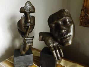 Le silence et le calme - Sculpture en bronze moderne