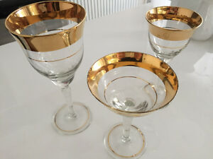 Vintage gold rimmed wine & martini/aperitif glasses