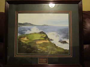 PEBBLE BEACH 7TH HOLE WOOD FRAMED GOLF PICTURE