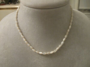 ...BEAUTIFUL16-INCH SINGLE STRAND MOTHER-of-PEARL OBLONG BEADS..