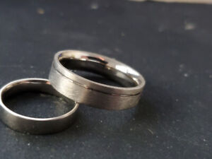 One of a kind 14K Palladium White Gold Wedding Rings