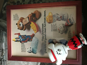 Vintage 1971 Charlie Brown Avon Nrush with Framed ad