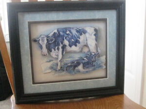 Framed Cow Paper toll Print Kitchener / Waterloo Kitchener Area image 1
