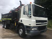 2008 DAF CF 75.310 6x4 steel tipper Epsilon E120L crane and grab