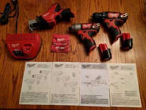 Milwaukee M12 Cordless LITHIUM-ION 3-Tool Combo Kit 2498