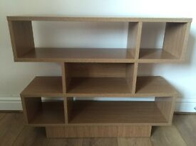 Shelving unit with beech effect, display unit