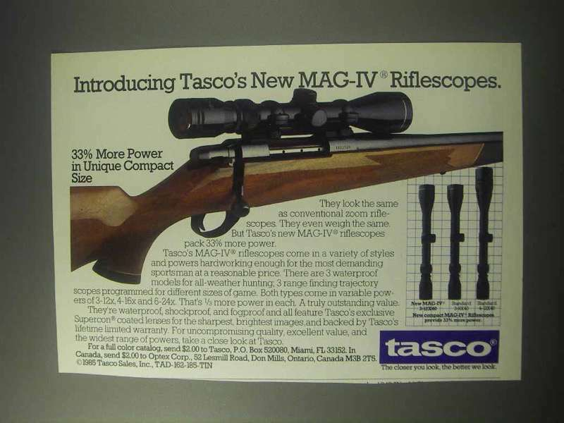 1985 Tasco MAG-IV Riflescopes Ad