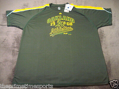 Oakland A's Athletics MLB Green Majestic Crewneck Poly Jersey Shirt BIG & TALL Athletic Big And Tall Jersey