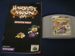 Harvest Moon n64 game with manual