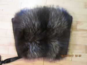vintage fur hand muff , with zippered compartment
