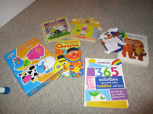 Books, puzzle including toddler activity book