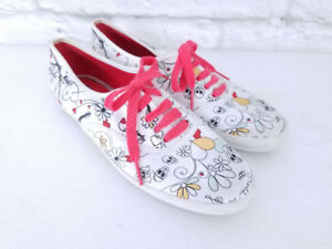 Keds Womens Skulls Punk Print White Canvas Sneakers Shoes