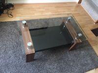 Walnut effect / glass coffee table
