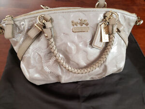 Coach bag silver imprint textured used