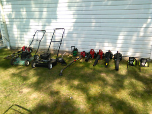 Various pieces of lawn equipment