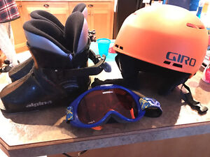 Youth ski boots and goggles