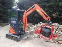Mini digger hire, soil screener, top soil