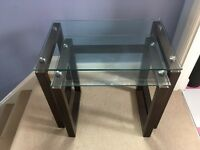Wood and glass side tables (set of two)
