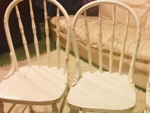 2 Old White Painted Kitchen Chairs