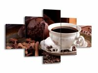 Multi panel large canvas print - coffee perfect for kitchen - NEW WITH BOX