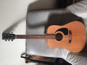 Simon and Patrick Luthier cedar top acoustic guitar and gig bag